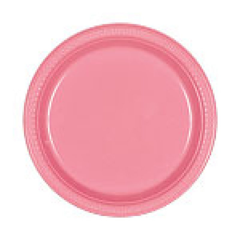 Plato 22 cm.rosa 10 unid.